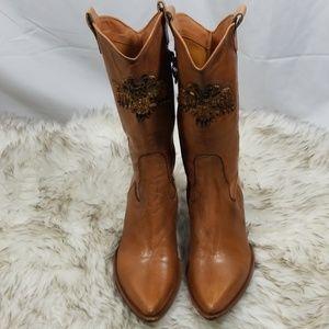 Gianni Bravo Cognac embellished cowboy boots 36